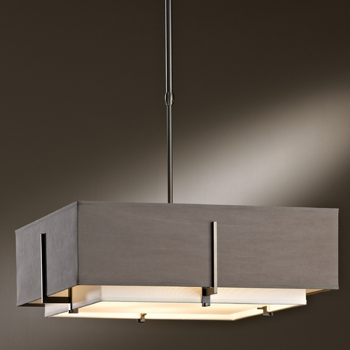 Hubbardton Forge Lighting Hubbardton Forge Lighting Exos Dark Smoke Pendant Light with Square Shade 13963007-NDPD