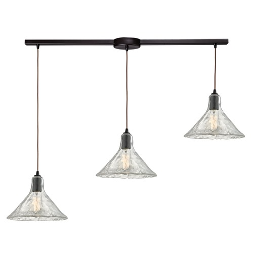 Elk Lighting Elk Lighting Hand Formed Glass Oil Rubbed Bronze Multi-Light Pendant with Conical Shade 10435/3L