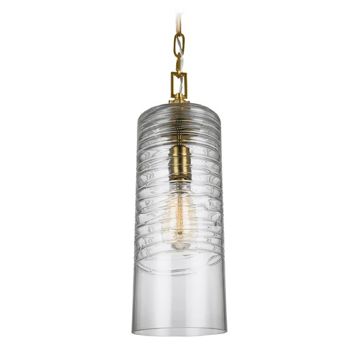 Feiss Lighting Feiss Lighting Elmore Burnished Brass Mini-Pendant Light with Cylindrical Shade P1446BBS