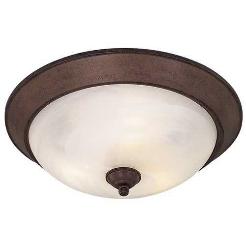 Minka Lavery Flushmount Light with White Glass in Antique Bronze Finish 893-91-PL