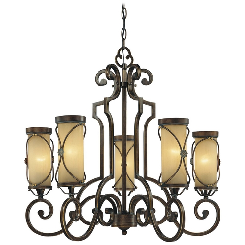 Minka Lavery Chandelier with Beige / Cream Glass in Deep Flax Bronze Finish 4235-288