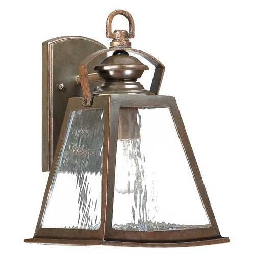 Minka Lighting Outdoor Wall Light with Clear Glass in Architectural Bronze with Copper Highlights Finish 72291-291