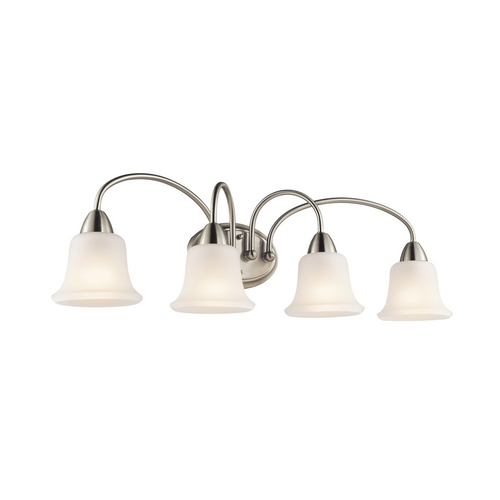 Kichler Lighting Kichler Bathroom Light with White Glass in Brushed Nickel Finish 45884NI