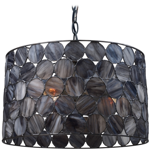 Elk Lighting Drum Pendant Light with Grey Glass in Matte Black Finish 72003-3