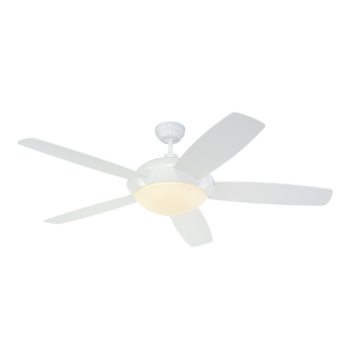 Monte Carlo Fans Modern Ceiling Fan with Light with White Glass in White / Matte Opal Finish 5SLR52WHD-B