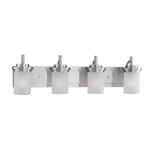 Sea Gull Lighting Modern Bathroom Light with White Glass in Brushed Nickel Finish 44663-962