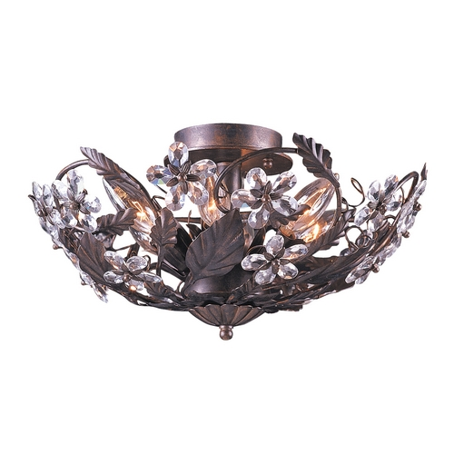 Crystorama Lighting Crystal Semi-Flushmount Light in Dark Rust Finish 5316-DR