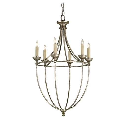 Currey and Company Lighting Mini-Chandelier in Annatto Antique Silver Finish 9815