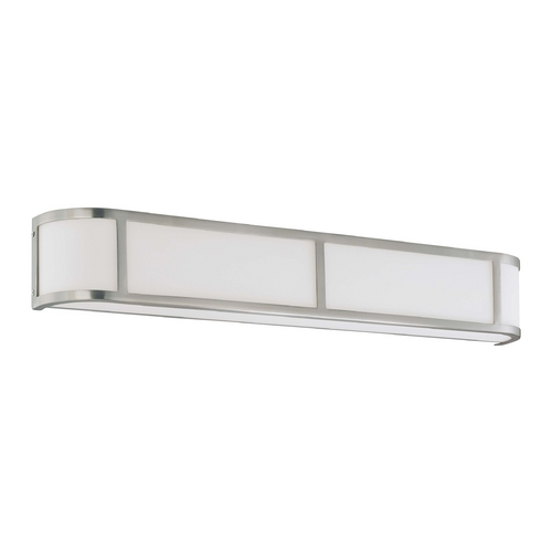 Nuvo Lighting Bathroom Light with White Glass in Brushed Nickel Finish 60/3804