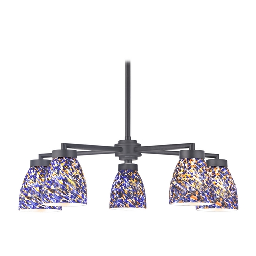Design Classics Lighting Modern Chandelier with Five Lights and Art Glass in Black Finish 590-07 GL1009MB
