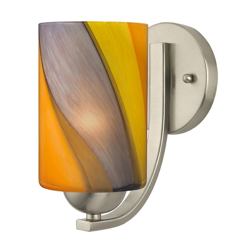Design Classics Lighting Sconce with Art Glass in Satin Nickel Finish 585-09 GL1015C