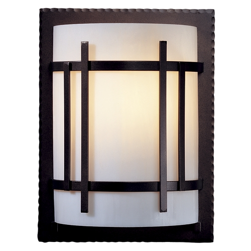 Hubbardton Forge Lighting Sconce Wall Light with White Glass in Dark Smoke Finish 205710-07-B409
