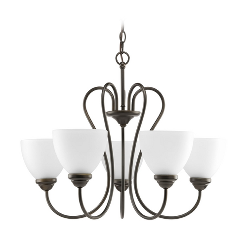 Progress Lighting Progress Chandelier with White Glass in Antique Bronze Finish P4666-20