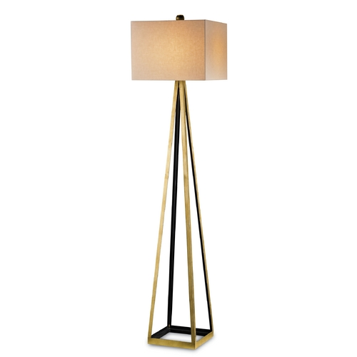 Currey and Company Lighting Currey and Company Lighting Gold Leaf / Satin Black Floor Lamp with Rectangle Shade 8049
