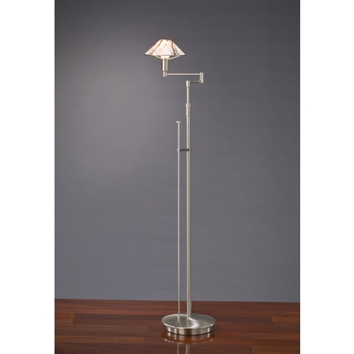 Holtkoetter Lighting Holtkoetter Modern Swing Arm Lamp with White Glass in Satin Nickel Finish 9434 SN MRB