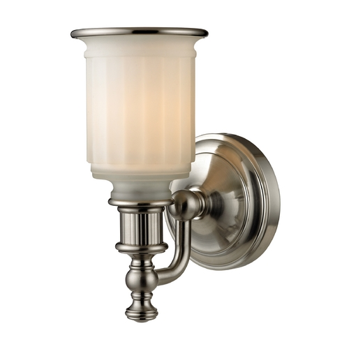 Elk Lighting Sconce Wall Light with White Glass in Brushed Nickel Finish 52000/1