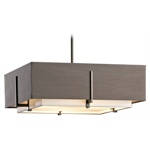 Hubbardton Forge Lighting Hubbardton Forge Lighting Exos Dark Smoke Pendant Light with Square Shade 13963007-NFPD