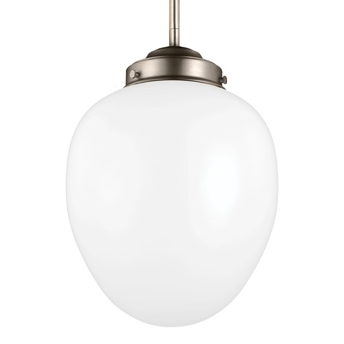 Feiss Lighting Feiss Alcott Satin Nickel Mini-Pendant Light with Oval Shade P1398SN