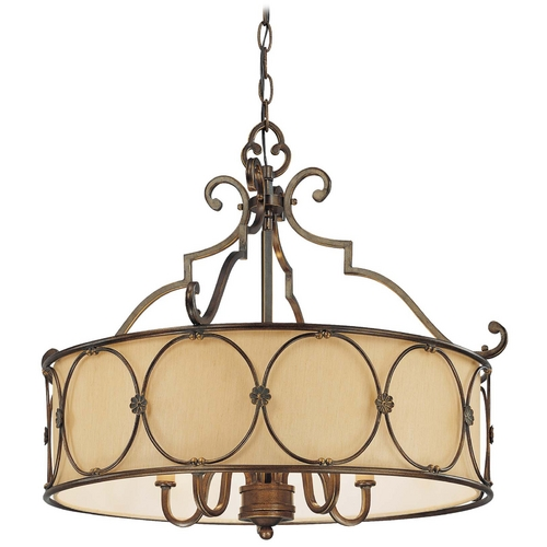 Minka Lavery Drum Pendant Light with Beige / Cream Glass in Deep Flax Bronze Finish 4236-288