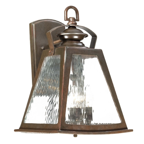 Minka Lavery Outdoor Wall Light with Clear Glass in Architectural Bronze with Copper Highlights Finish 72292-291