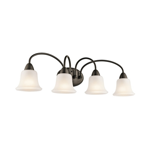 Kichler Lighting Kichler Bathroom Light with White Glass in Olde Bronze Finish 45884OZ