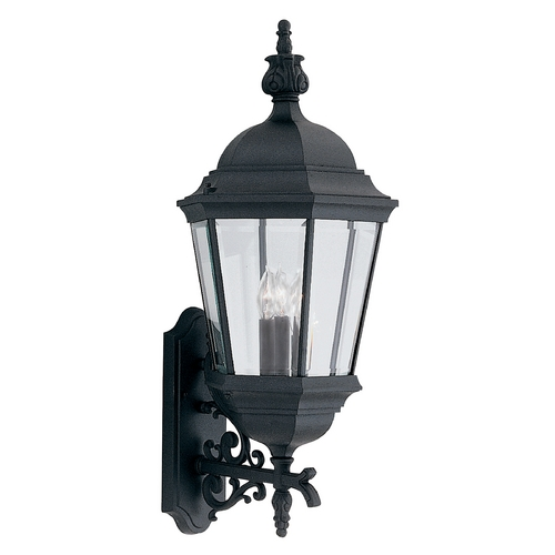 Designers Fountain Lighting Outdoor Wall Light with Clear Glass in Black Finish 2952-BK