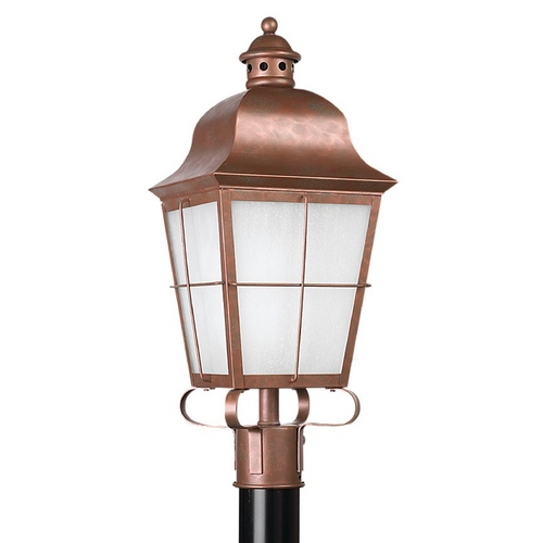 Sea Gull Lighting Post Light with White Glass in Weathered Copper Finish 82973BL-44