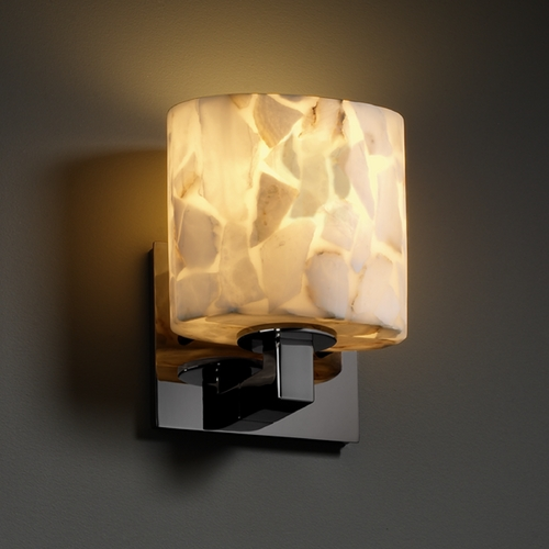 Justice Design Group Justice Design Group Alabaster Rocks! Collection Sconce ALR-8931-30-BLKN