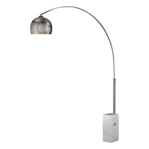 George Kovacs Lighting Mid-Century Modern Arc Lamp Brushed Nickel with Marble Base P054-084