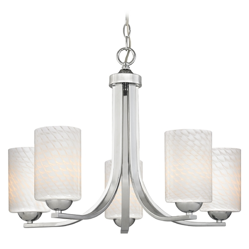 Design Classics Lighting Contemporary 5-Light Chandelier with White Art Glass in Chrome 584-26 GL1020C
