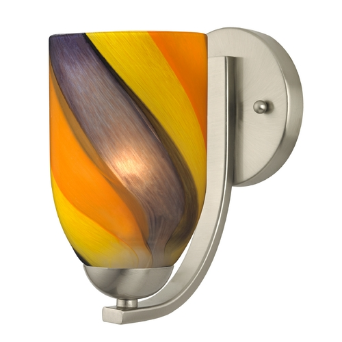 Design Classics Lighting Sconce with Art Glass in Satin Nickel Finish 585-09 GL1015D