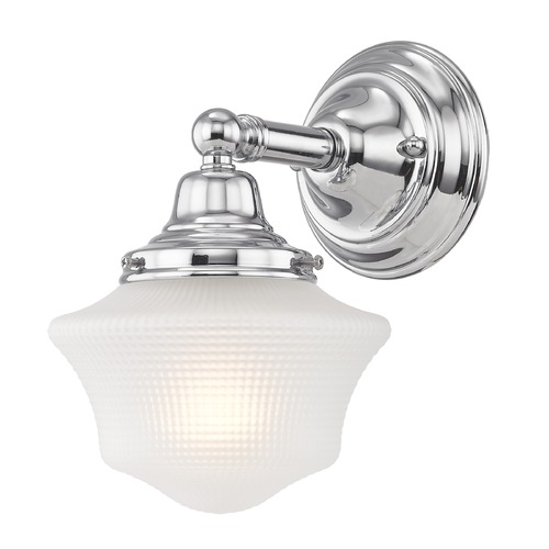 Design Classics Lighting Prismatic Glass Schoolhouse Sconce Chrome 1 Light 6 Inch Width WC1-26 GC6-FF