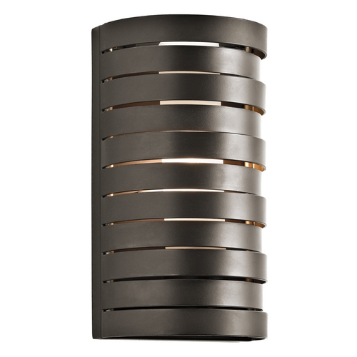 Kichler Lighting Kichler Modern Sconce Wall Light with White Glass in Bronze Finish  43305OZ