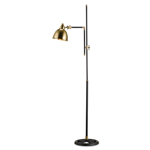 Currey and Company Lighting Currey and Company Lighting Antique Brass / Black Swing Arm Lamp 8051