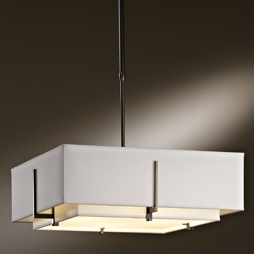 Hubbardton Forge Lighting Hubbardton Forge Lighting Exos Dark Smoke Pendant Light with Square Shade 139630-SKT-STND-07-SFSF