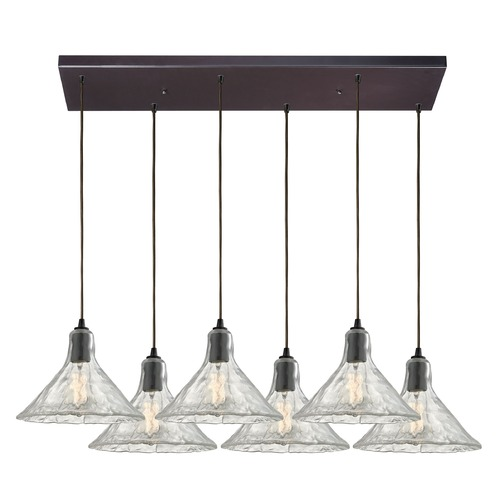 Elk Lighting Elk Lighting Hand Formed Glass Oil Rubbed Bronze Multi-Light Pendant with Conical Shade 10435/6RC