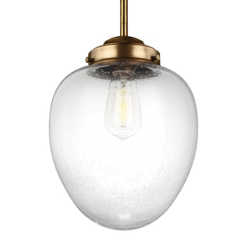 Feiss Lighting Feiss Alcott Aged Brass Mini-Pendant Light with Oval Shade P1399AGB
