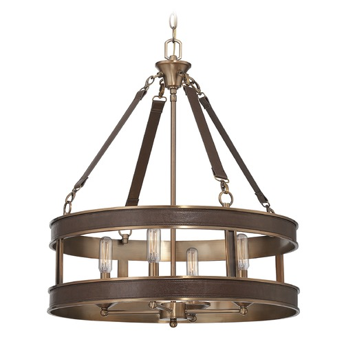 Savoy House Savoy House Lighting Harrington Brown Leather Pendant Light 7-614-4-50