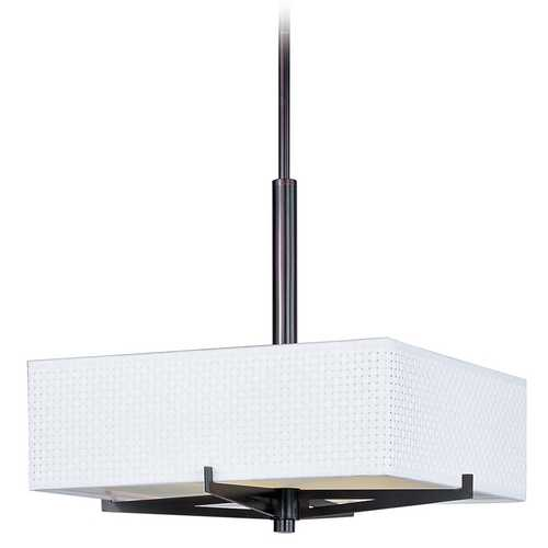 ET2 Lighting Modern Pendant Light with White Shades in Oil Rubbed Bronze Finish E95445-100OI