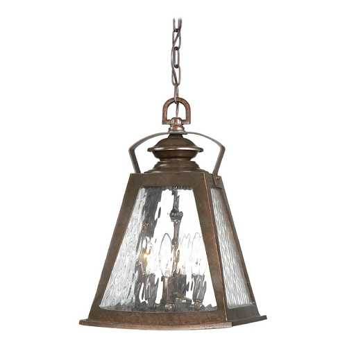 Minka Lighting Outdoor Hanging Light with Clear Glass in Architectural Bronze with Copper Highlights Finish 72294-291
