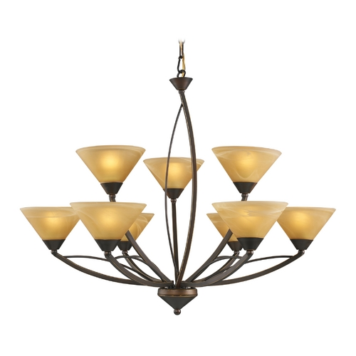 Elk Lighting Modern Chandelier with Beige / Cream Glass in Aged Bronze Finish 7648/6+3