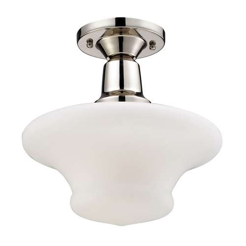 Elk Lighting Modern Semi-Flushmount Light with White Glass in Polished Nickel Finish 66234-1