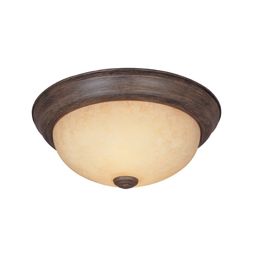 Designers Fountain Lighting Flushmount Light with Amber Glass in Warm Mahogany Finish 1257M-WM-AM