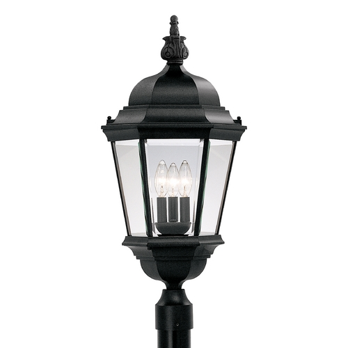 Designers Fountain Lighting Post Light with Clear Glass in Black Finish 2956-BK