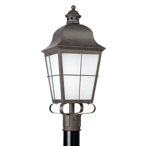 Sea Gull Lighting Post Light with White Glass in Oxidized Bronze Finish 82973BL-46