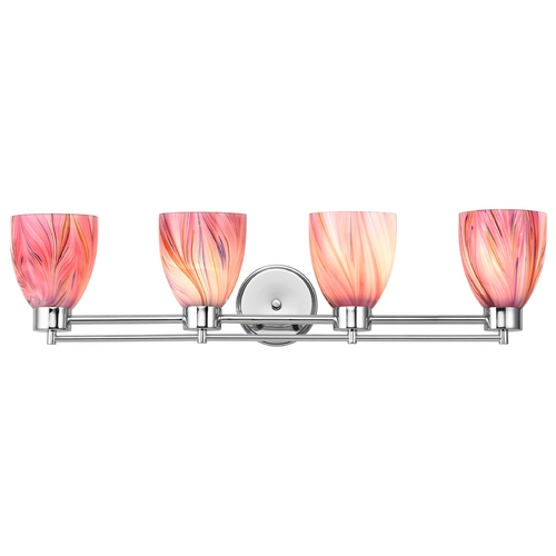Design Classics Lighting Modern Bathroom Light with Pink Art Glass in Chrome Finish 704-26 GL1004MB