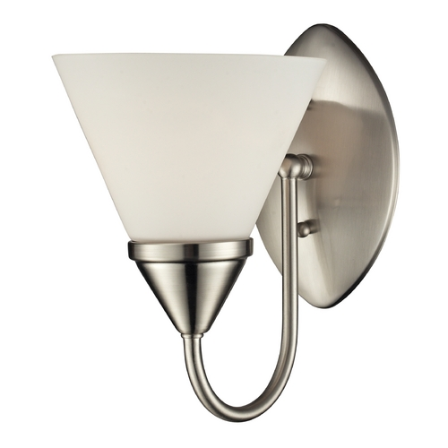 Elk Lighting LED Sconce Wall Light with White Glass in Satin Nickel Finish 84055/1-LED