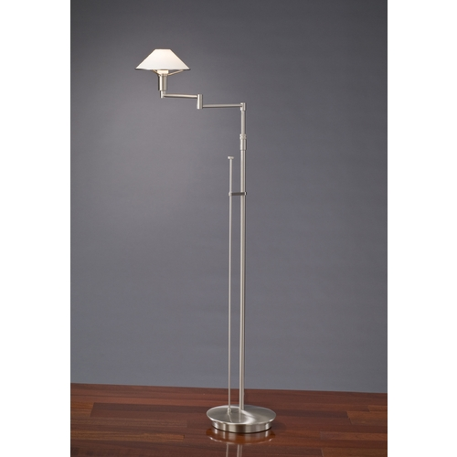 Holtkoetter Lighting Holtkoetter Modern Swing Arm Lamp with White Glass in Satin Nickel Finish 9434 SN TRW