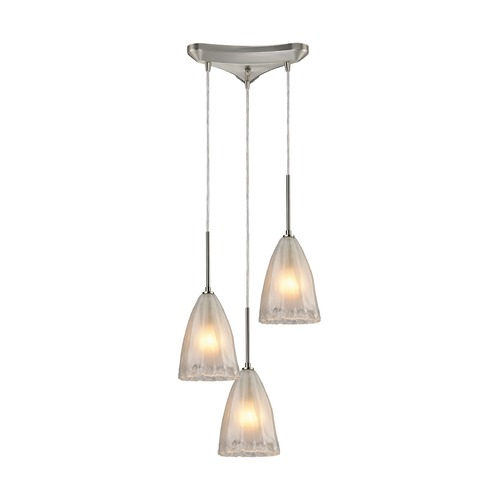 Elk Lighting Elk Lighting Calipsa Satin Nickel Multi-Light Pendant with Bowl / Dome Shade 10449/3