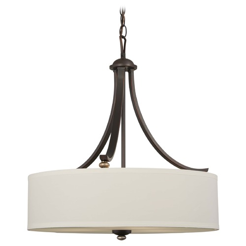 Minka Lavery Minka Shadowglen Lathan Bronze with Gold Pendant Light with Drum Shade 3287-589